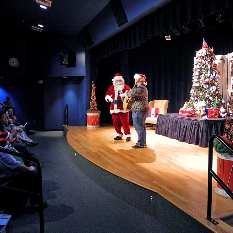 Here's Wes and Santa in theater during the Member's Milk and Cookies Party on December 3.